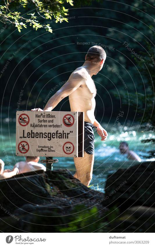 life-threatening danger Masculine Life Body 1 Human being Nature Water Summer Beautiful weather Warmth Park Brook River Munich The Englischer Garten Eisbach