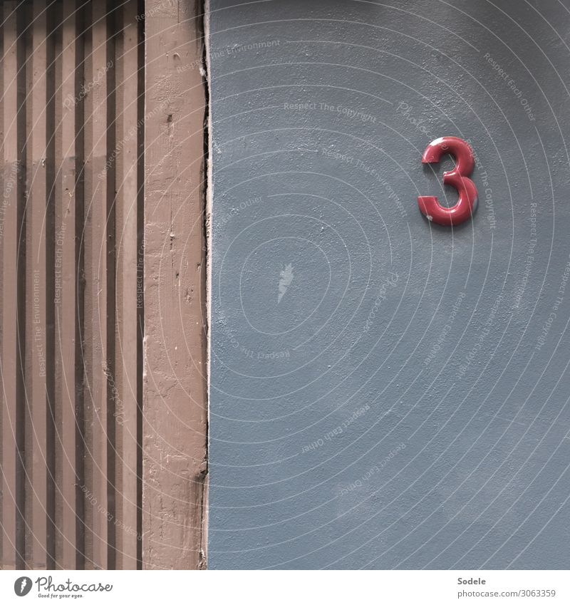 Contribution to the 3rd Advent Town House (Residential Structure) Building Facade House number Digits and numbers Authentic Uniqueness Original Gloomy Gray Red