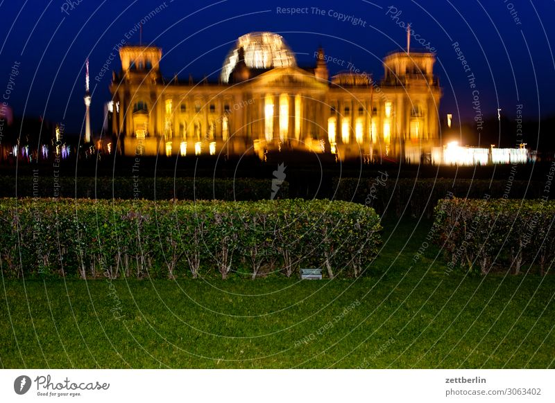 Reichstag at night and shaky Evening Architecture Berlin Germany German Flag Dark Twilight Capital city Night Parliament Government Seat of government Spree