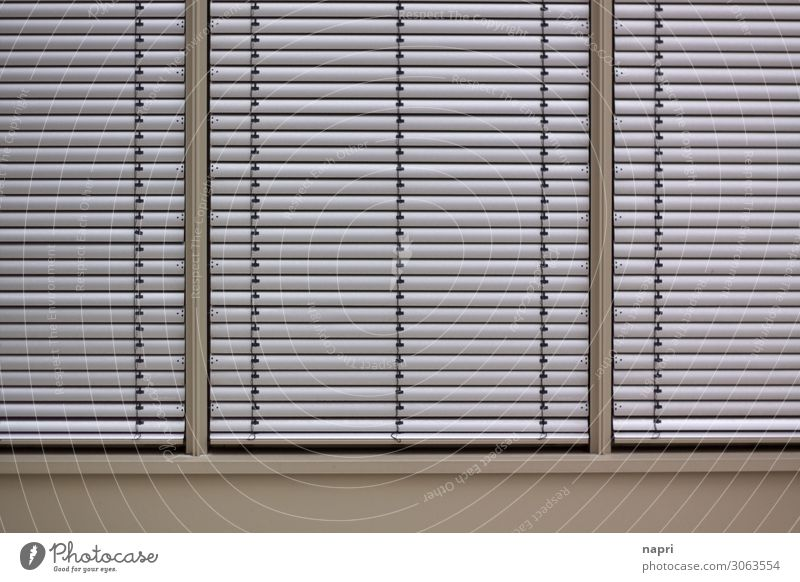 closed society Business Closing time Town Facade Window Modern Silver Mysterious Society Protection Venetian blinds Closed opaque Geometry Line Office district