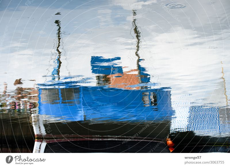 Blue Watercraft Shopping Harbour Maritime Sell Mirror image Fishing boat Drop anchor Motor barge Wismar Fishmonger