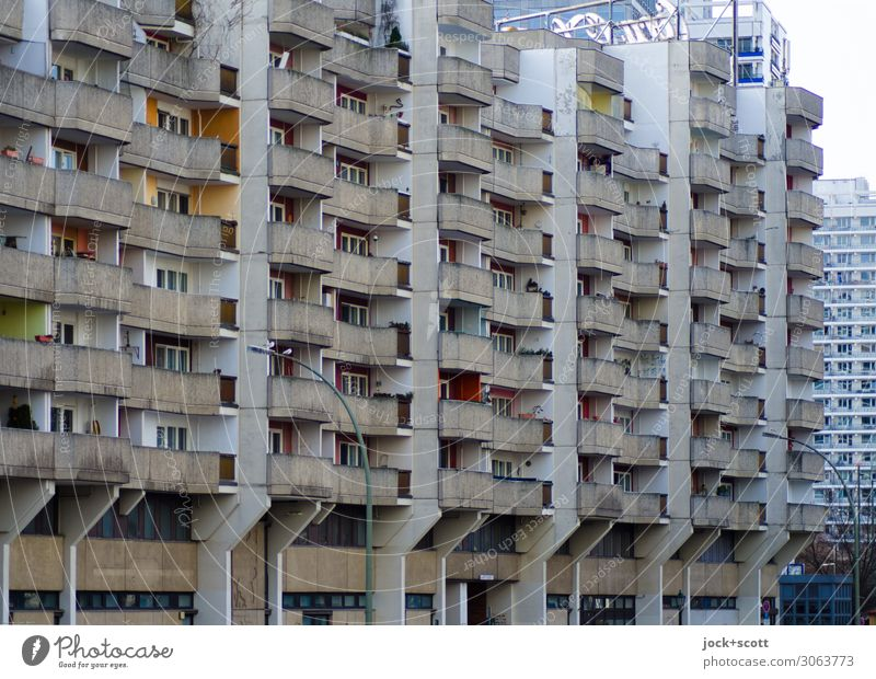 storage box GDR Environment Climate Downtown Architecture Town house (City: Block of flats) Tower block Facade Balcony Concrete Authentic Sharp-edged great