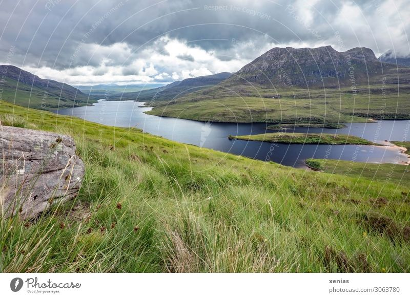 Vacation & Travel Summer Blue Green Landscape Clouds Calm Far-off places Mountain Grass Lake Trip Hiking Summer vacation Scotland