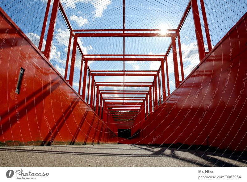 Belvedere Bridge Red Architecture Steel construction Steel carrier Steel bridge Bridge construction Construction Manmade structures Pedestrian crossing