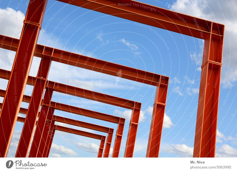 steel-blue sky Sky Clouds Beautiful weather Red Steel Steel carrier Steel construction Steel bridge Iron blue Architecture Pearly Gates Row Tilt