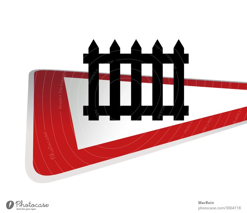 Attention level crossing Transport Road traffic Rail transport Train travel Railroad crossing Control barrier Road sign Red Watchfulness Safety Triangle Slowly