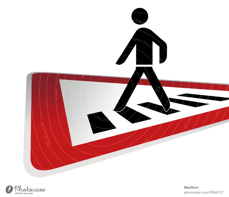 Attention pedestrians Traffic infrastructure Passenger traffic Pedestrian Street Crossroads Lanes & trails Road sign Sign Going Walking Red Safety Signage