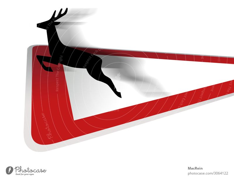Traffic sign Wildwechsel Transport Road traffic Street Crossroads Road sign Wild animal Roe deer Sign Jump Red Safety Symbols and metaphors Signage Colour photo