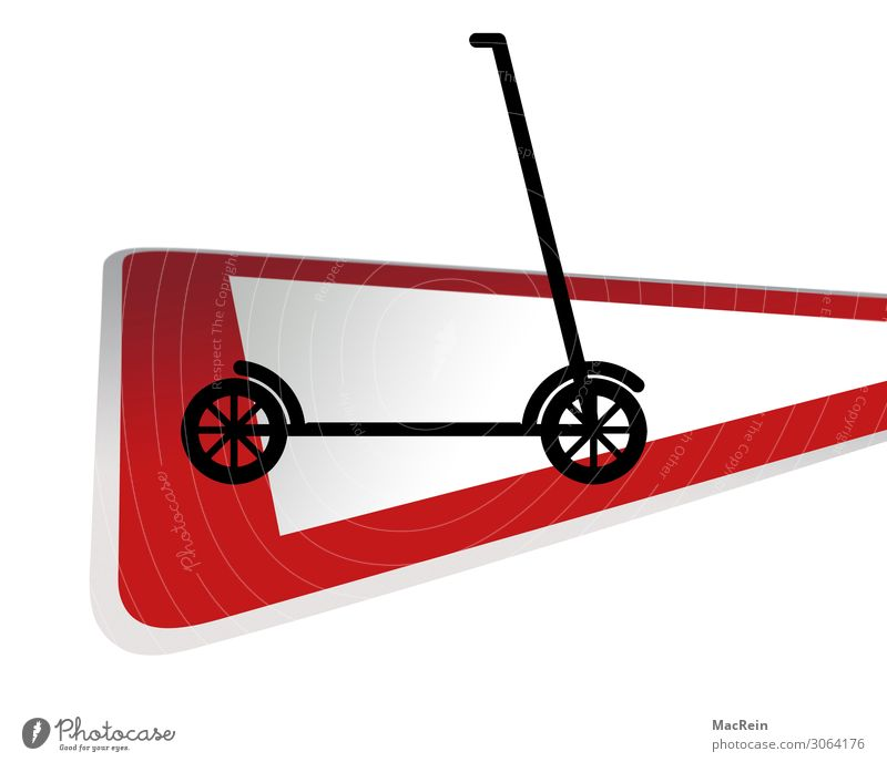 Traffic sign with electric scooter Transport Means of transport Road sign Scooter Red Safety Symbols and metaphors Signage Colour photo