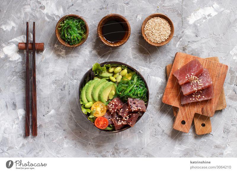 Hawaiian tuna poke bowl Vegetable Sushi Bowl Above Gray Green Salad hawaiian Tuna fish Raw Chopstick ahi avocado asian wakame edamame Trend food healthy