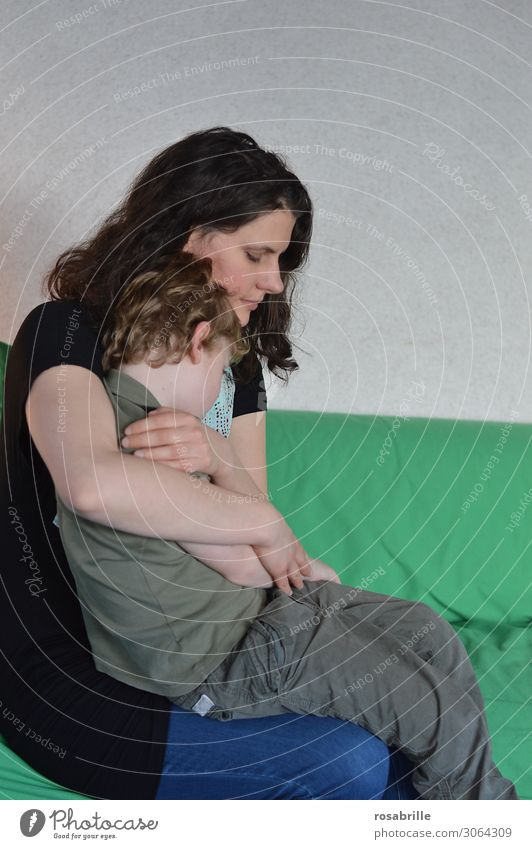Child Green Love Boy (child) Together Sit Protection Safety Mother To hold on Near Trust Brunette Embrace Intimacy Son