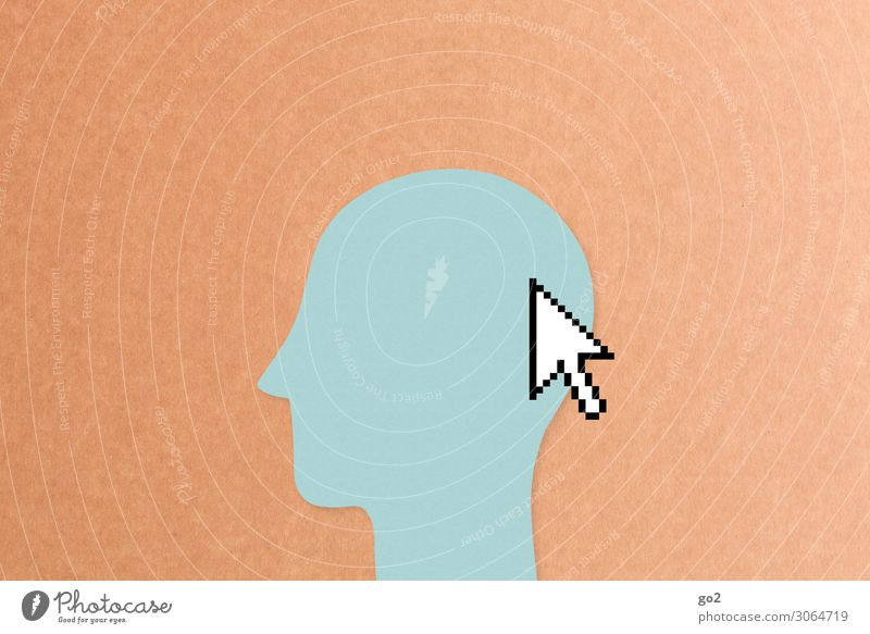 Mouse pointer on head Leisure and hobbies Computer games Work and employment Profession Office work Media industry Advertising Industry To talk Human being Head