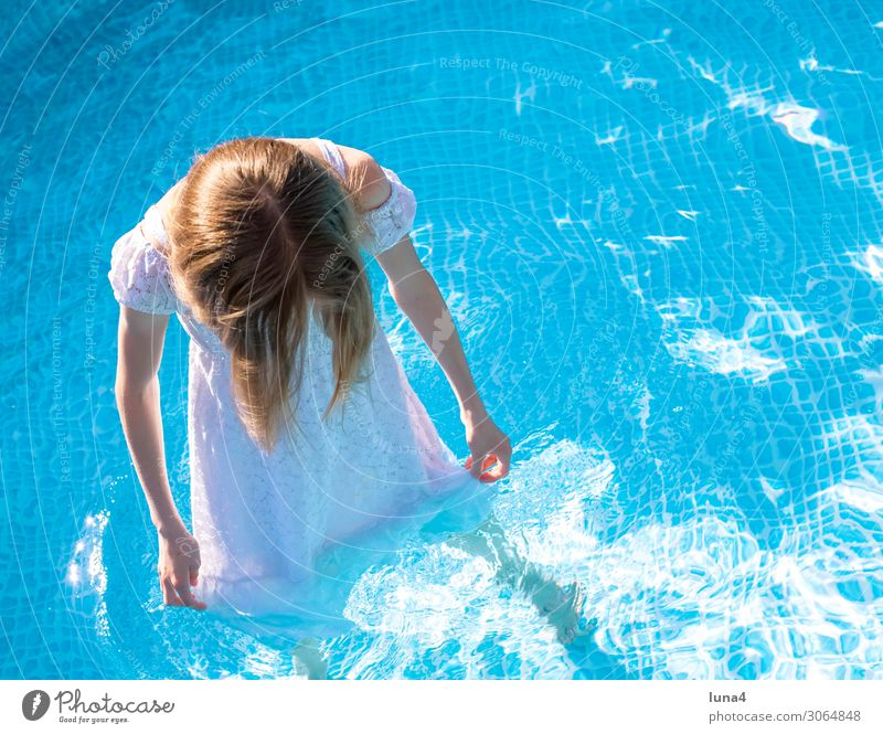 Girl with dress in pool Lifestyle Joy Well-being Contentment Relaxation Swimming pool Swimming & Bathing Leisure and hobbies Vacation & Travel Summer Water
