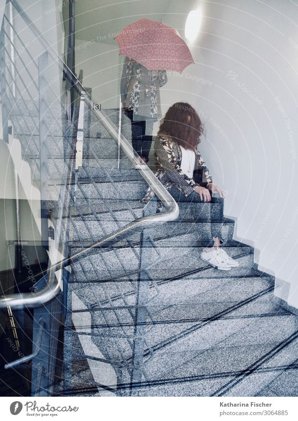 staircase woman double exposure Feminine 1 Human being Stairs Sit Stand Blue Brown Gray Pink Red Black Silver Turquoise White Staircase (Hallway)