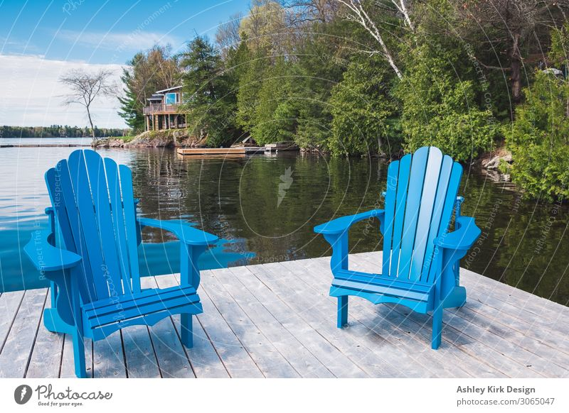 Muskoka chairs Joy Calm Vacation & Travel Summer Summer vacation Sun Sunbathing Chair Swimming & Bathing Nature Sky Lake Lakeside Blue Happiness Contentment