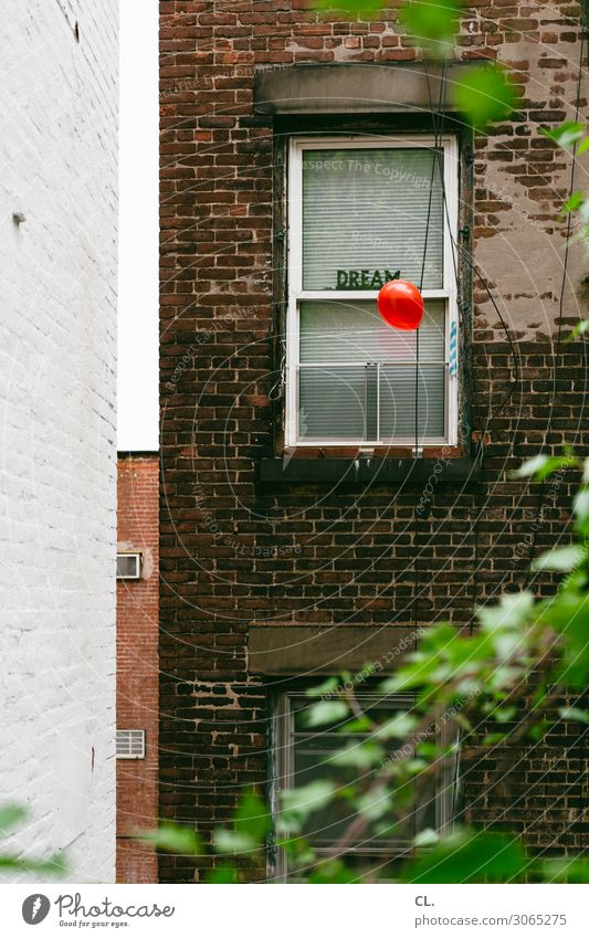 dream New York City USA House (Residential Structure) Wall (barrier) Wall (building) Window Decoration Balloon Sign Characters Exceptional Red Emotions