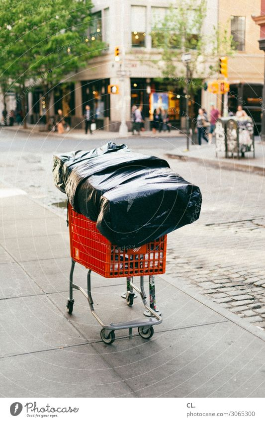 Homeless New York City Manhattan USA Town Downtown Pedestrian precinct Traffic infrastructure Street Lanes & trails Packaging Shopping Trolley Loneliness