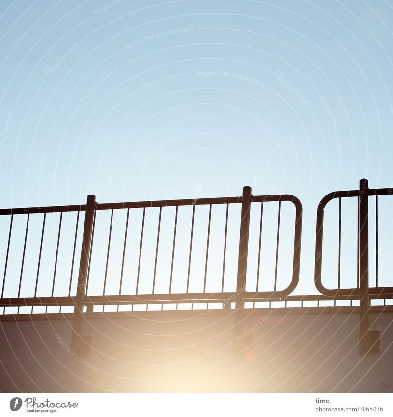 bridge over sunny afternoon Sky Beautiful weather Bridge Architecture Bridge railing Passenger traffic Lanes & trails Concrete Metal Happiness Fresh Hot Bright
