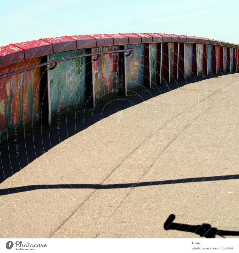 coloured up Wilhelmsburg (II) Sky Beautiful weather Bridge Bridge railing Transport Traffic infrastructure Cycling Lanes & trails Bicycle Metal Graffiti
