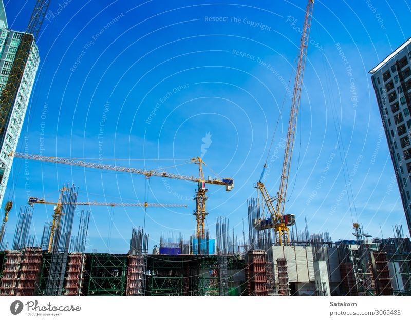 The under-construction building at site Work and employment Construction site Industry Business Construction machinery Sky Thailand Town Building Concrete Steel
