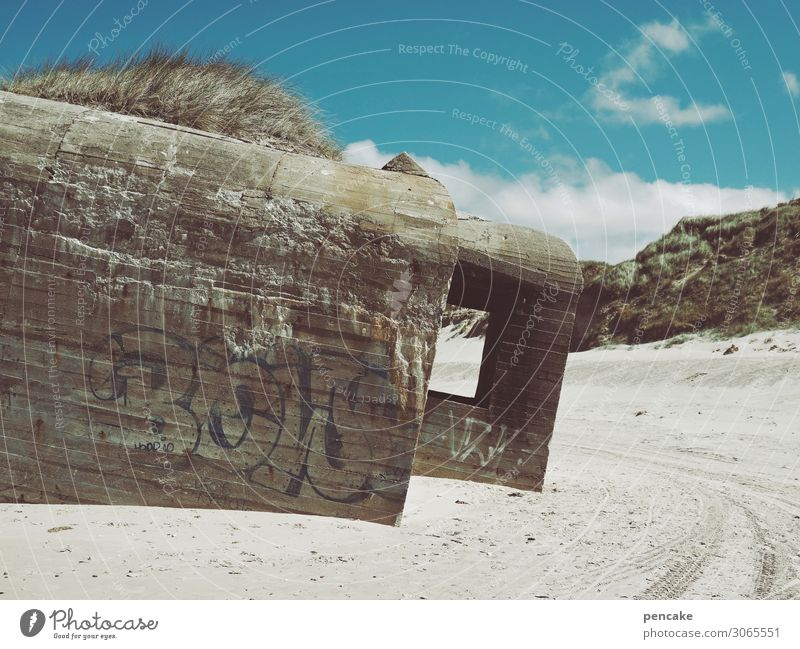 some say they're bunkers Nature Sand Coast North Sea Old Authentic Threat Famousness Animosity Second World War Denmark Dugout Beach Monument Colour photo
