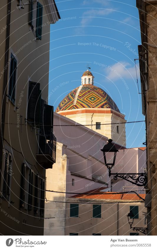 old colourful church Vacation & Travel Old Religion and faith Church Adventure Italy Roof Village Monument Fishing village Sardinia
