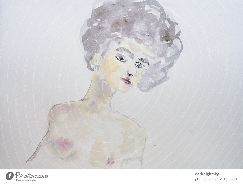 Female partial nude in watercolor colors Elegant Beautiful Leisure and hobbies Human being Feminine Young woman Youth (Young adults) Woman Adults Body Skin Head