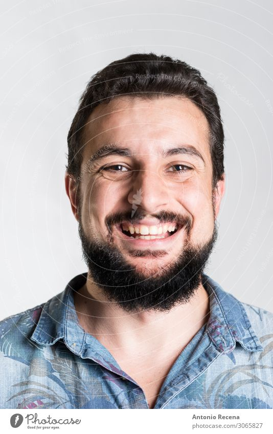 bearded smiling man portrait close up Man Adults Shirt Beard Smiling Emotions hawaiian Expression Arabia middle eastern ethnicity Mid adults 30s 40s attractive