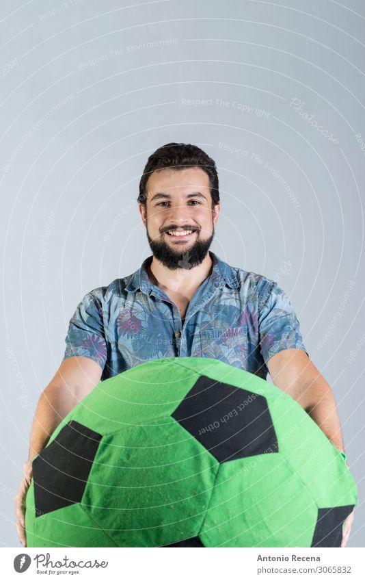 soccer ball fan sport in studio shot Joy Soccer Man Adults Shirt Balloon Smiling Stand Anger Self-confident hawaiian bearded Expression Arabia
