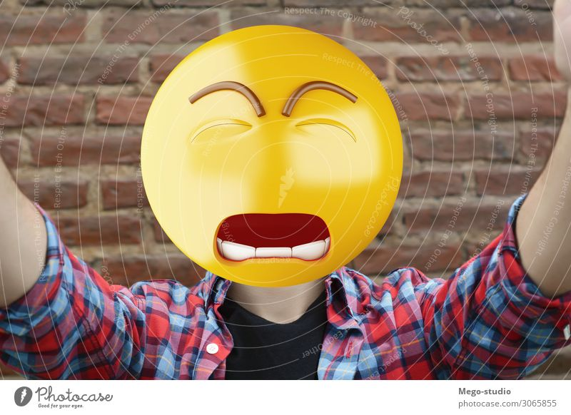 Sad emoji head man. Lifestyle Happy Face Business Telephone PDA Technology Internet Boy (child) Man Adults Smiling Sit Stand Sadness Smart Emotions attractive