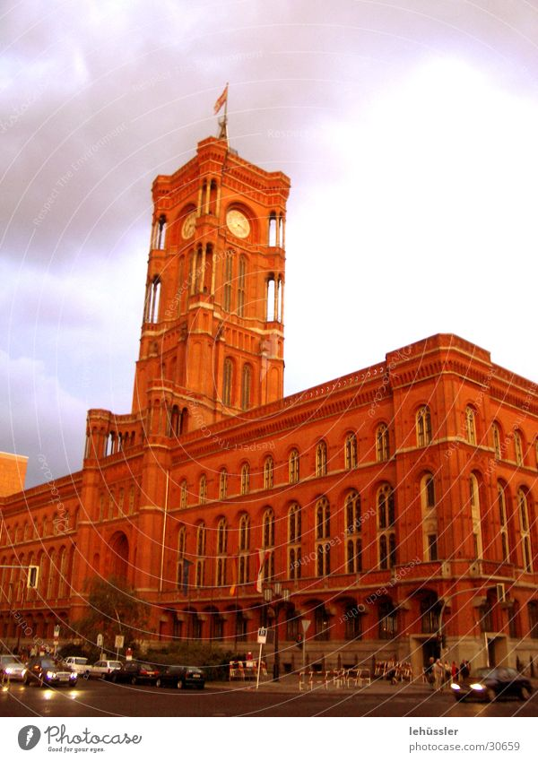 brick dignity Brick Dignified Red Horizon Merlon Architecture Berlin town hall Middle Sky Evening difus symbol ...