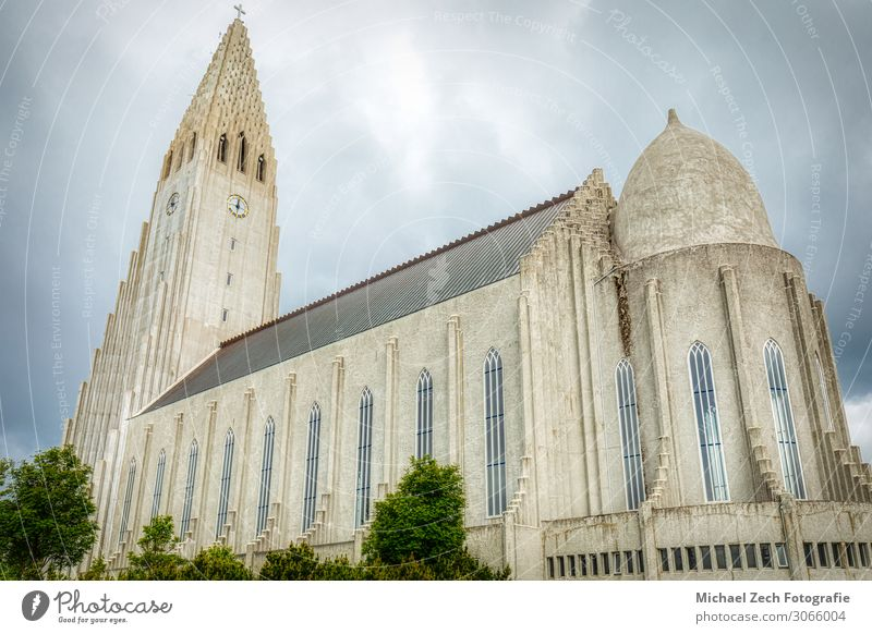 Famous cathedral Hallgrimskirkja church in reykjavik Design Beautiful Vacation & Travel Tourism Summer Nature Landscape Sky Town Downtown Skyline Church