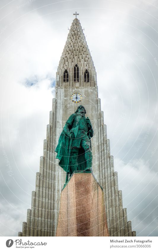 statue of Lief Erikson in front of Hallgrimskirkja in reykjavik Design Beautiful Vacation & Travel Tourism Summer Nature Landscape Sky Town Downtown Skyline