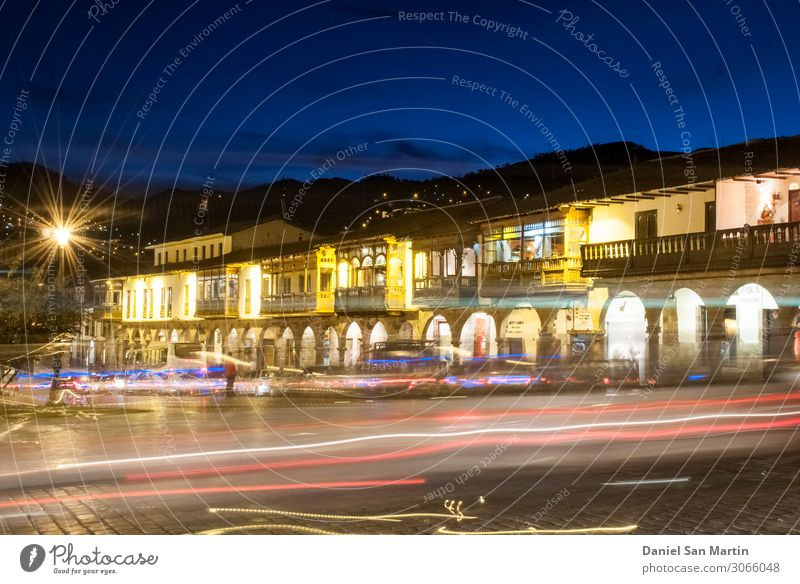 Night view from Plaza de Armas in Cuzco. Vacation & Travel Mountain Culture Clouds Hill Town Downtown Church Building Architecture Old Historic Blue