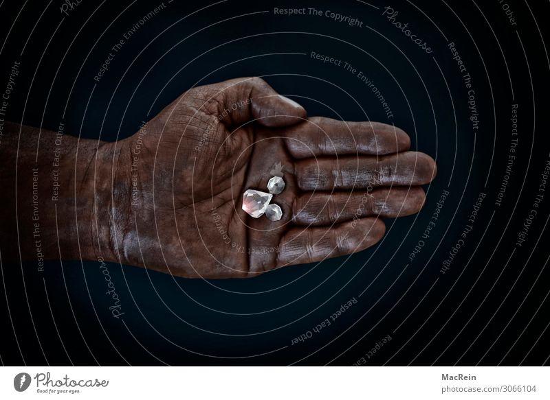 diamonds Hand Adventure Business Pure Quality Working man Raw materials and fuels Diamond Swarthy Retentive Palm of the hand Men`s hand Precious Mining Black