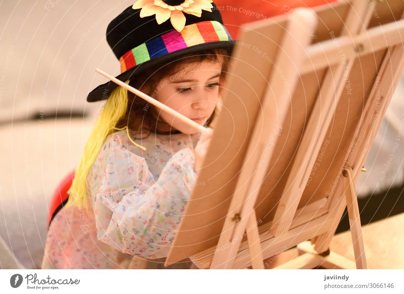Little girl painting a picture at home Joy Happy Beautiful Playing Sun House (Residential Structure) Table Child Craft (trade) Girl Infancy 1 Human being