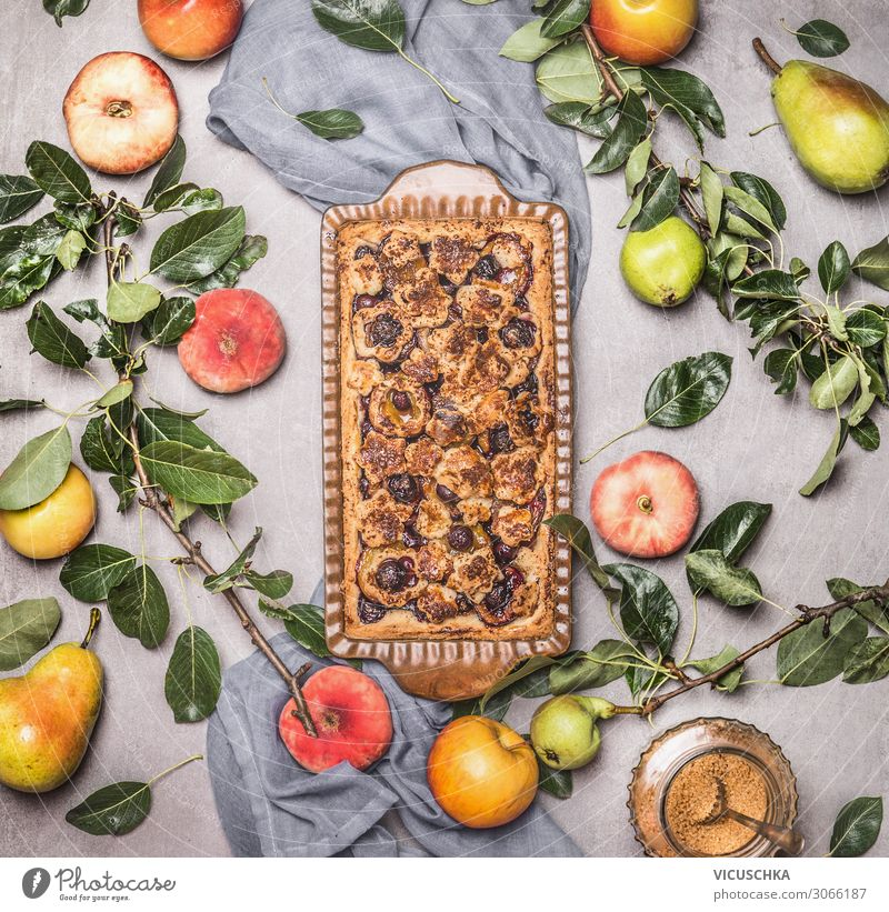 Seasonal baking with fruit of garden Food Fruit Cake Nutrition Style Design Holiday season Baking from the garden Pear Apple Peach Food photograph