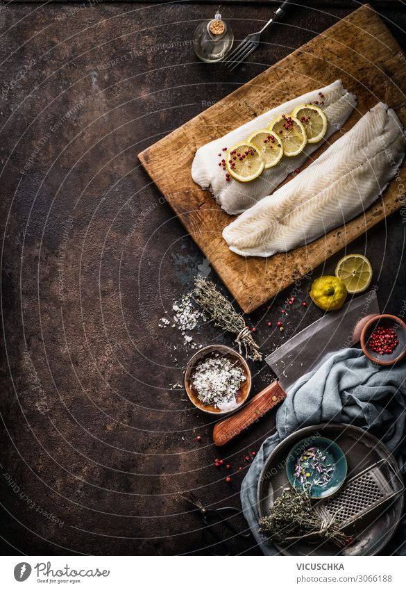 Cod fillet with lemon slices and herbs Food Fish Nutrition Crockery Design Healthy Eating Background picture Cooking Pork tenderloin Kitchen Table