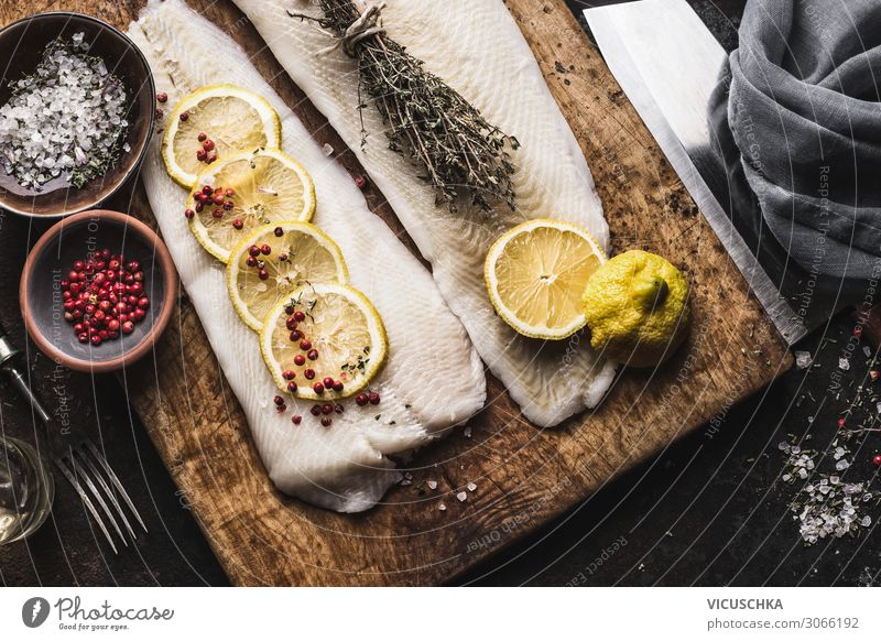 Cod fillet with lemon slices and herbs Food Fish Nutrition Lunch Organic produce Diet Crockery Style Design Healthy Eating Kitchen Restaurant Gastronomy Grunge