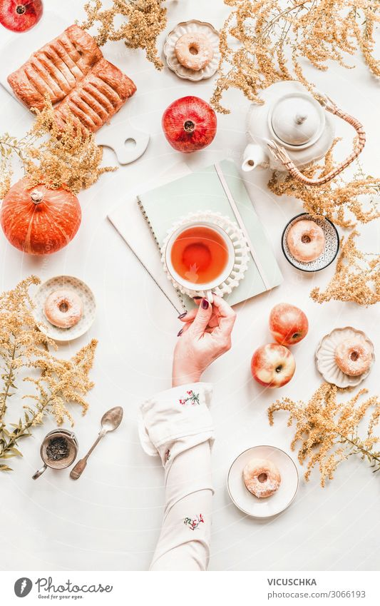 Cosy autumn breakfast, flat lay Food Nutrition Breakfast Beverage Tea Crockery Lifestyle Style Joy Living or residing Table Human being Woman Adults Hand