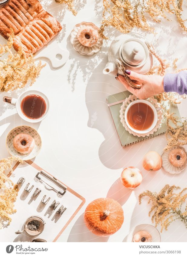 Cosy autumn at home Apple Cake Breakfast Hot drink Tea Lifestyle Style Design Living or residing Dream house Table Human being Woman Adults Hand Autumn Bouquet