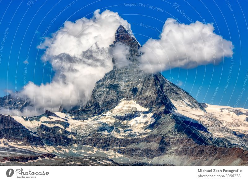 HDR panorama of famous matterhorn near zermatt Beautiful Vacation & Travel Tourism Trip Sun Snow Mountain Hiking Climbing Mountaineering Nature Landscape Sky