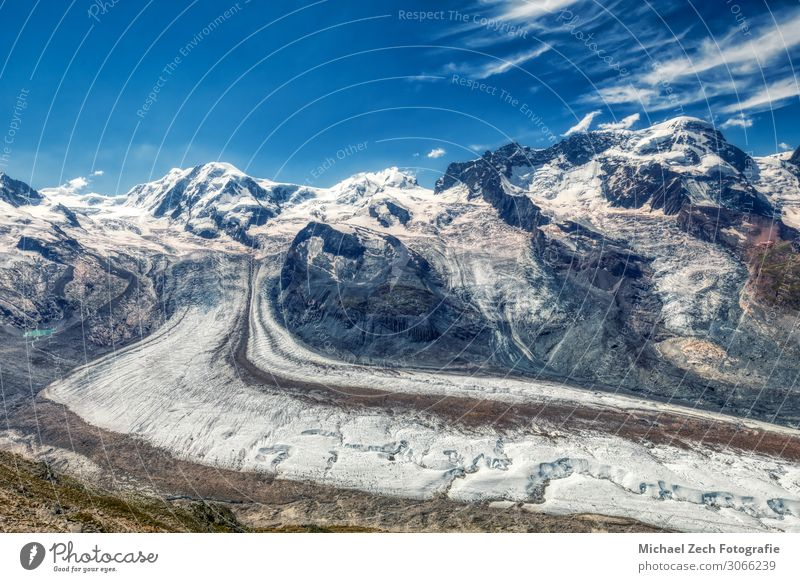 HDR panorama of famous gorner glacier near zermatt Lifestyle Vacation & Travel Tourism Adventure Summer Snow Mountain Hiking Sports Environment Nature Landscape