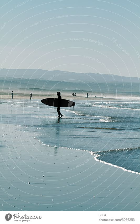 Surfer at the beach of Sidi Kaouki, Morocco. Athletic Calm Swimming & Bathing Leisure and hobbies Vacation & Travel Tourism Adventure Far-off places Freedom