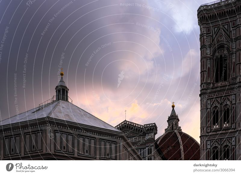 Cathedral Santa Maria del Fiore Art Culture Clouds Florence Italy Europe Town Downtown Old town Deserted Church Dome Tower Manmade structures Building