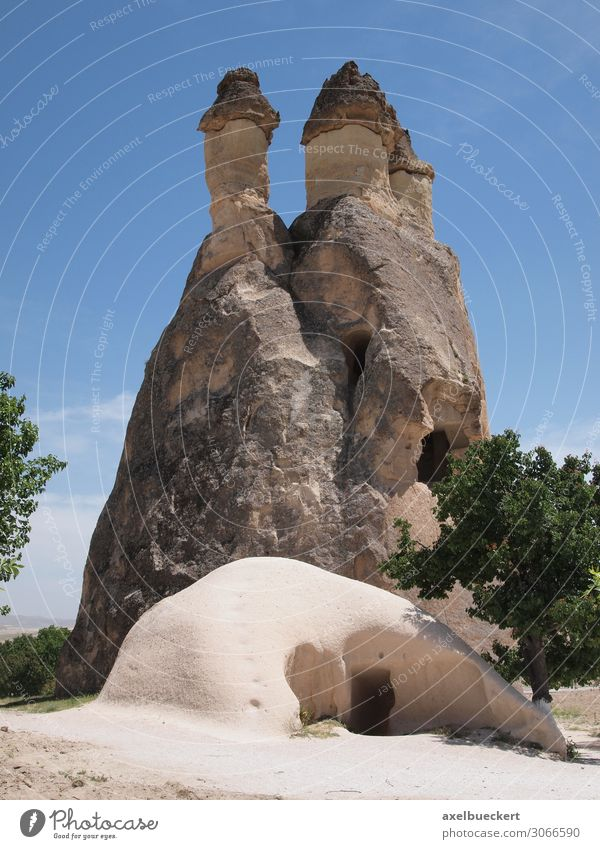 Caves and fairy fireplaces in Cappadocia Vacation & Travel Tourism Sightseeing Summer vacation Mountain Living or residing Flat (apartment) Nature Landscape
