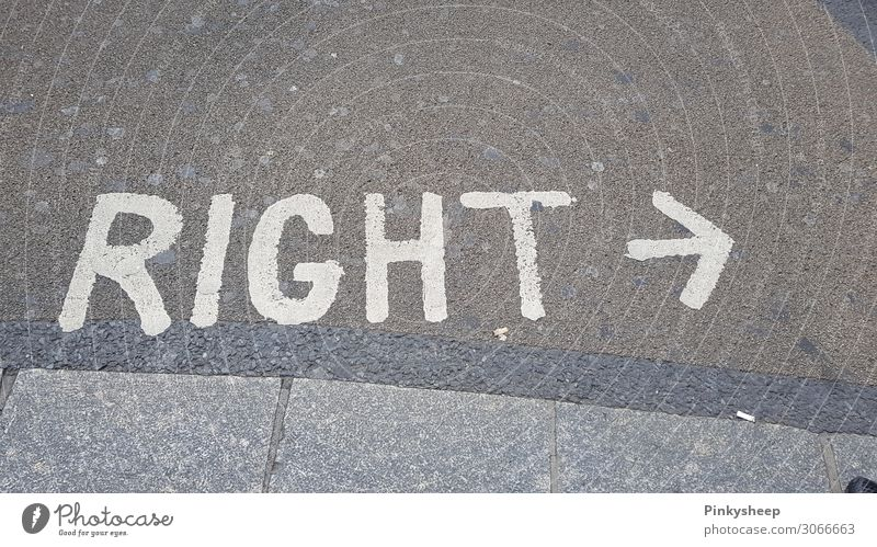 Right? Right! Right! Arrow Gray White Target Street London Left Indicate Direction Looking Letters (alphabet) English Correct Where Lanes & trails Chewing gum