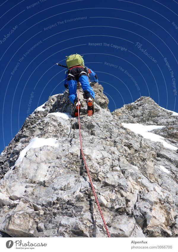 tightrope walk Rock Alps Mountain Zugspitze anniversary burr Peak Glacier Joy Happy Contentment Joie de vivre (Vitality) Anticipation Enthusiasm Honor Bravery