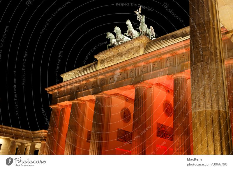 Illumination Brandenburg Gate Manmade structures Architecture Art Downtown Berlin Quadriga Lighting Twilight Red Colour photo Exterior shot Deserted Evening