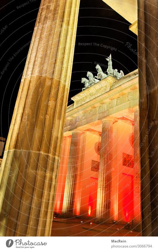 Illumination Brandenburg Gate Art Sculpture Architecture Capital city Deserted Warmth Orange Esthetic Culture Tourism Downtown Berlin Lighting Quadriga Red
